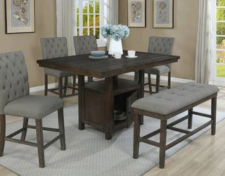 6 PCS Samantha Collection Dining table set-storage table- available in 2 colors Now 1129.00 In Stock! Free Delivery 🚚 for Sale in Ontario,  CA
