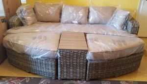 Gorgeous high quality wicker All Weather Wicker Sofa Daybed Sectional Set this set comes already assembled just open and enjoy for Sale in Boca Raton, FL