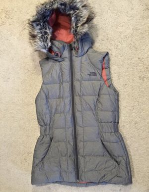 North Face / Puffy Fur Hooded Vest Coat Jacket / SIZE: Women's X-Small / Brand New w/o Tags! / Grey & Juicy Orange for Sale in Auburn, WA