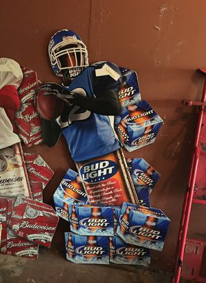 card board cut out bud weiser and bud light football signs for Sale in Pompano Beach, FL
