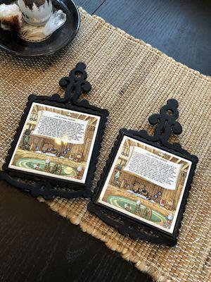 """The Kitchen Prayer"" tile & cast iron trivets - $6.00 each. for Sale in Oak Lawn, IL"