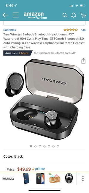 True Wireless Earbuds Bluetooth Headphones iPX7 Waterproof 90Hour Cycle Play Time, 3350mAh for Sale in Cary, NC