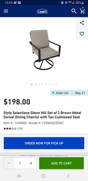 Style selections Glen Hill set of to Brown metal swivel chairs w/tan cushion seats for Sale in Bakersfield, CA
