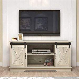White Oak Living Room TV Stand Sliding Barn Door Design up to 65 inch TV for Sale in Corona, CA