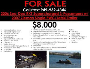 2006 Sea Doo RXT with Trailer for Sale in Lake Forest, CA