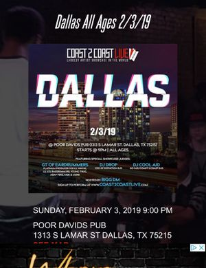 """""""COAST 2 COAST """"LIVE"""" LARGEST MUSIC SHOWCASE PERFORMANCE."""" for Sale in Dallas, TX"""