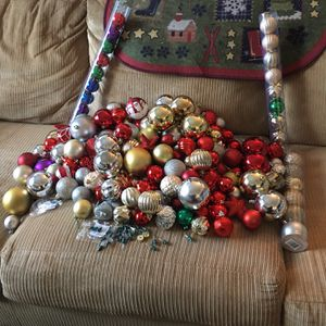 175 Christmas balls and a Christmas mat for outside $25for All for Sale in Henderson, NV