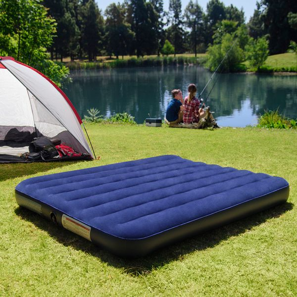 Queen Air Mattress Camping Home Inflatable Bed Blue