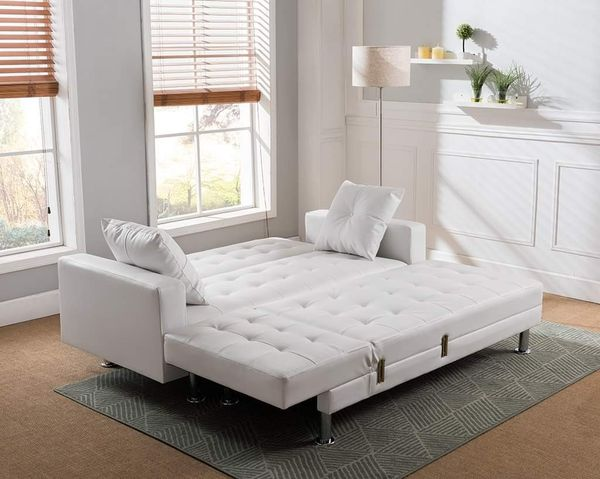 WHITE FUTON Tufted BONDED LEATHER Sectional Sofa Bed