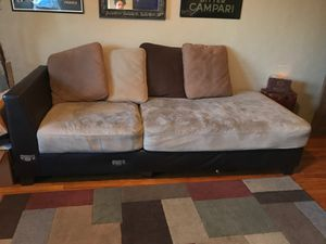 Large Brown Suede Sofa Couch with Pillows for Sale in San Diego, CA