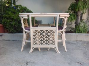 Boho Vintage Rattan Wicker Bamboo Dining Kitchen Patio Set- Table & 2 Chairs for Sale in San Diego, CA