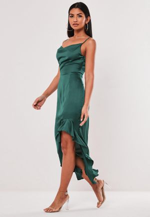 Formal seafoam green dress maxi with ruffle slit wedding guest dress cowl neck midi event fancy long dress brand new small medium for Sale in Portland, OR