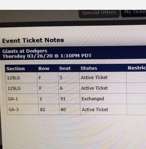 Dodgers OPENING DAY vs Giants for Sale in Pasadena, CA