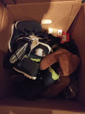 Two boxes with shoes almost a 100 pairs different sizes women man and kids shoes for Sale in Lawrenceville, GA