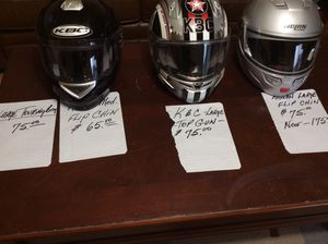 Motorcycle helmets, touring bag, $75 dollars each for Sale in Tacoma, WA