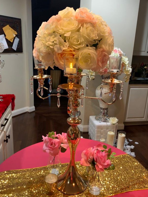 Candelabra with crystals for centerpiece