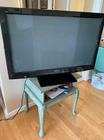 Black Panasonic 42 inch TV with remote control and 3 HDMI ports