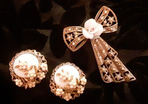 1930's Brass BAKELITE and RHINESTONE EARRINGS with Brass Seed Pearl, Rhinestone & Porcelain Pin for Sale in Tacoma, WA
