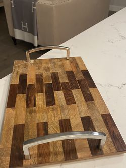 Wooden Serving Tray With Metal Handles for Sale in Gresham,  OR