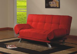 RED CLICK-CLACK FUTON SOFA WITH ADJUSTABLE ARMS for Sale in Dearborn, MI