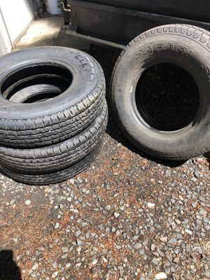 "Kelly safari heavy duty 16"" light truck/trailer tires weight rating 2335lb per tire. Less than 100 miles on them. They've been stored in our shop. for Sale in Lacey, WA"