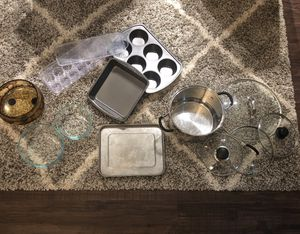 Kitchen set utensil Muffin Pie Pudding Baking Tray pot lids glass container fruit holder for Sale in Herndon, VA