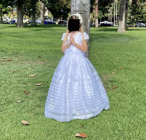 Dress for First Communion or Flower girl (size 8-9), Headband, and shoes (size 2) - All for $64 for Sale in Coronado, CA