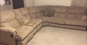 Beige Sectional w/Two Recliners and a Pull Out Queen Bed for Sale in Phoenix, AZ