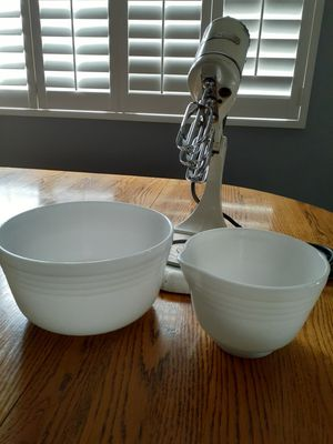 Two Vintage, Milk Glass Pyrex Bowls and 3 prong mixer for Sale in Chino, CA
