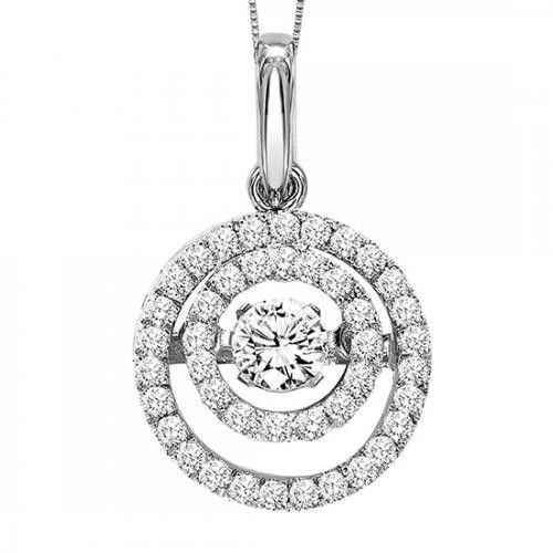 Circle Pendant Necklace 1.75 Carats Sparkling Diamonds 14K White Gold