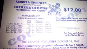 Shriner's Circus tickets for Sale in Knoxville, TN