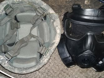 Real Army Helmet And A Real Life Gas Mask Askn A 100$ for Sale in Fresno,  CA