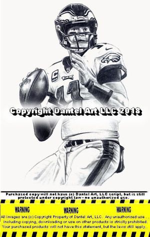 CARSON WENTZ Philadelphia Eagles Lithograph Pencil drawing print 8x10 Limited Edition of 10K - 8x10 inch black and white photo print - high quality for Sale, used for sale  Greeley, CO