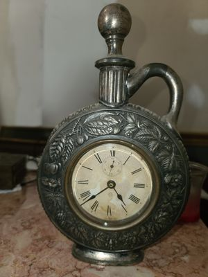 Flask Clock Antique Metal for Sale in Lafayette, IN