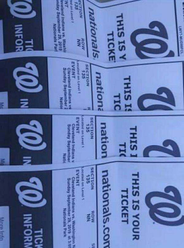 Washington Nationals ticket Cleveland vs Nationals 9-29-19