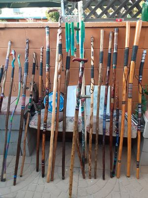 Arizona walking sticks , all my sticks are created from materials from the desert here in Arizona! All are sanded and painted by my family! for Sale in Tucson, AZ