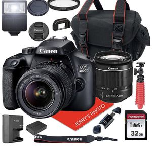Canon EOS 4000D DSLR Camera w/Canon EF-S 18-55mm F/3.5-5.6 III Zoom Lens + Case + 32GB SD Card (15pc Bundle) for Sale in Elk Grove, CA