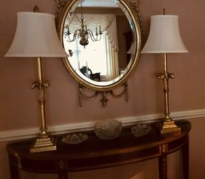 Beautiful Pair of Elegant Tall Gold and Silver Tall Lamps Silk Shades for Sale in Chesapeake, VA