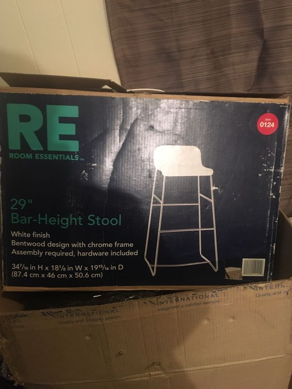 "29"" bar height stool white finish RE Essentials"
