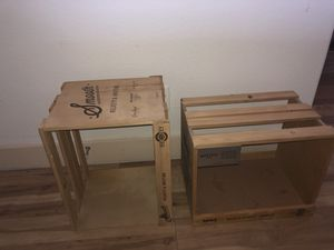 2 Super cool artsy craft wooden storage crates/shelves/or anything u can think to turn them into lol $10 each for Sale in Phoenix, AZ