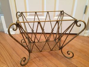 "LARGE Vintage Gold distressed Magazine Holder Measures 19""W x 14 1/4""H x 14 1/2""D ❗️IF POSTED THEN AVAILABLE❗️Basket Rack for Sale in Plainfield, IL"