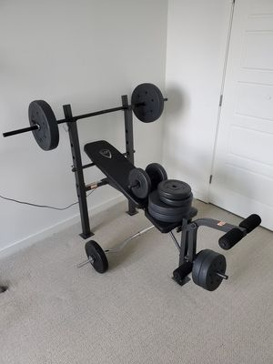 Home gym, weights, curl bar, adjustable bench, exercise equipment for Sale in Revere, MA