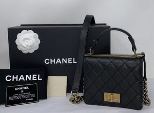 CHANEL Goatskin Quilted Rita Top Handle Flap Bag Black ❤️ for Sale in Corona, CA