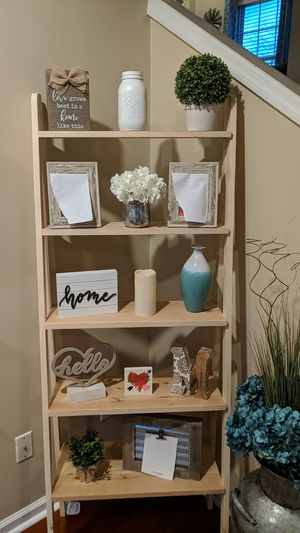 Ladder shelf with 5 shelves. Homemade, made to order. Can stain or leave natural wood color. Beautiful decor! for Sale in Franklin, TN
