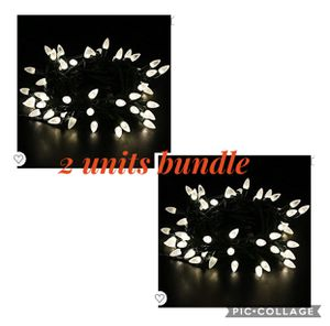 2 units Outdoor LED String Lights,17 feet 50 LEDs Mood Lighting Strands,Diamond Strawberry C3 Bulbs,Warm White Christmas Lights,for Patio Garden Holi for Sale in Irwindale, CA