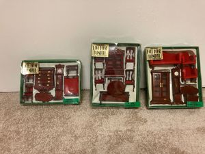 3 Boxes of Miniature Doll House wooden Furniture (Handcrafted) Living Room, Dining Room and Bedroom for Sale in Arvada, CO