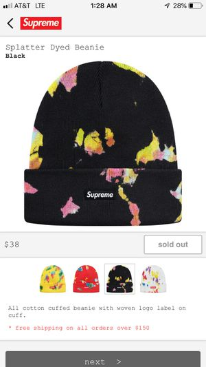 Supreme Splatter Dyed Beanie in Black for Sale in Brooklyn, NY