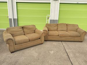 Couch and loveseat (medium brown) for Sale in Sun City, TX