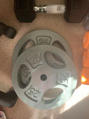"""Brand New 25 lb Pound Barbell Weight Plates Set PAIR Fits 1"""" Bar 50 lbs Total for Sale in Andover, MA"""
