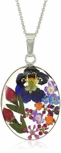 """Sterling Silver Genuine Real Pressed Flower Oval Pendant Necklace, 18"""" for Sale in Las Vegas, NV"""